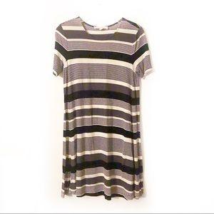 LOFT Black and Gray Striped T-Shirt Dress